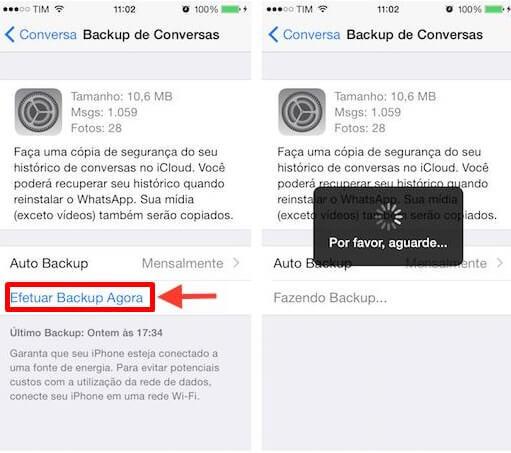 Backup do Whatsapp no iphone