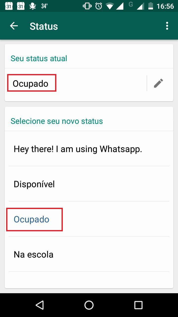 Como trocar frase de status do WhatsApp 7