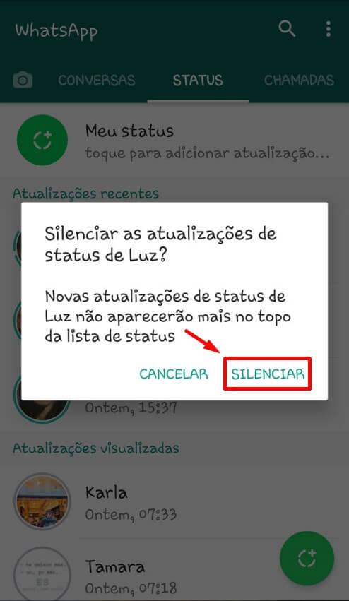 silenciar status