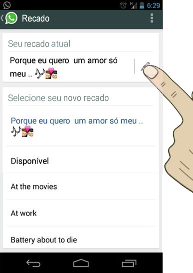 trocar recado do whatsapp