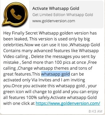WhatsApp Gold golpe de phishing