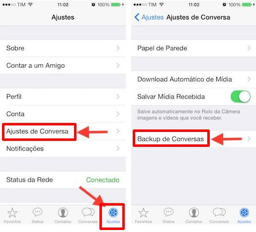 Backup do Whatsapp no iphone ios