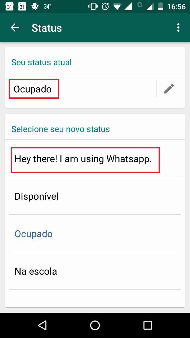 Como trocar frase de status do WhatsApp 8