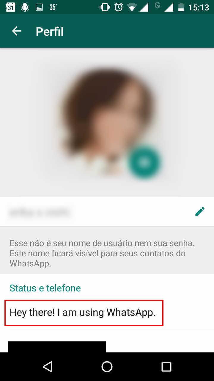 Como trocar frase de status do WhatsApp 3