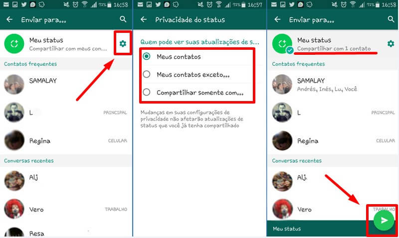 como usar status do whatsapp