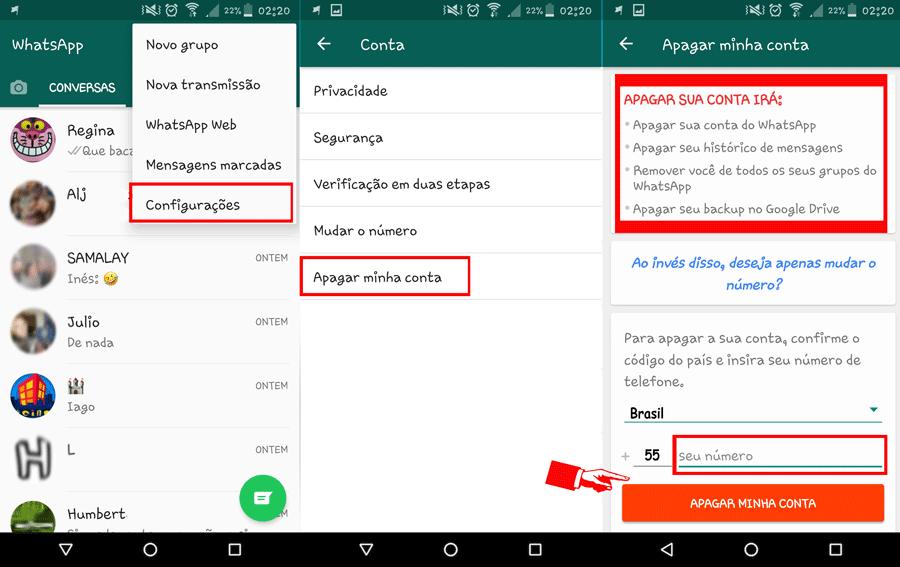 excluir uma conta whatsapp