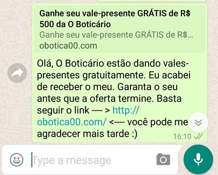 novo golpe do whatsapp