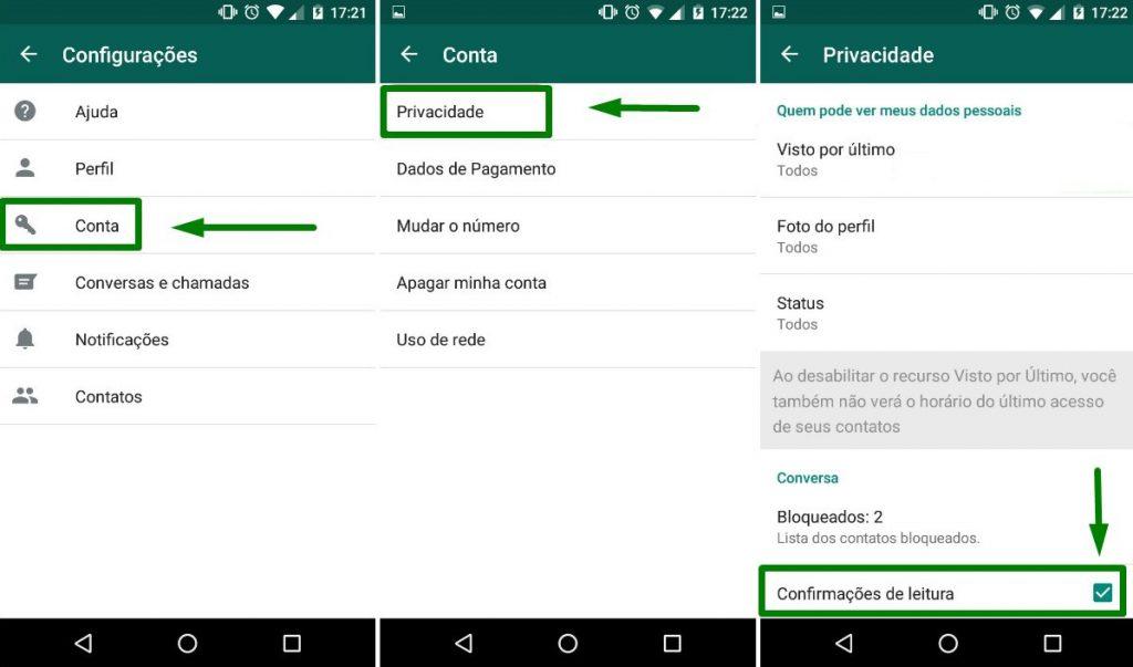 Como desabilitar a confirmação de leitura do Whatsapp?