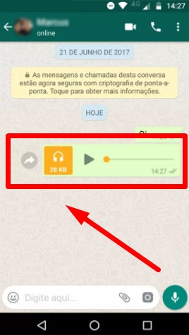 gravar áudio no WhatsApp
